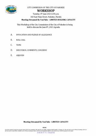 City Commission Workshop Agenda