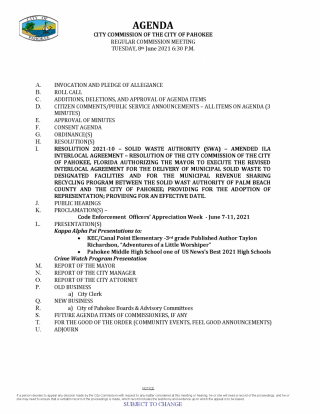 City Commission Regular Meeting Agenda