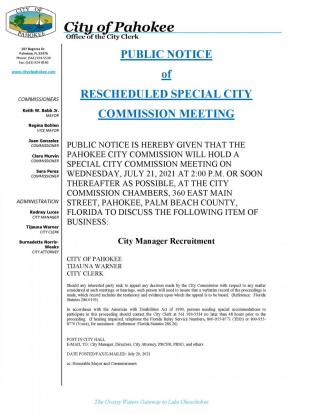 Special City Commission Meeting - Wednesday, 21st July  2021  at 2:00pm