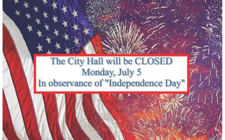 City Hall Closed Monday, 5th July 2021 in Observance of 'INDEPENDENCE DAY'